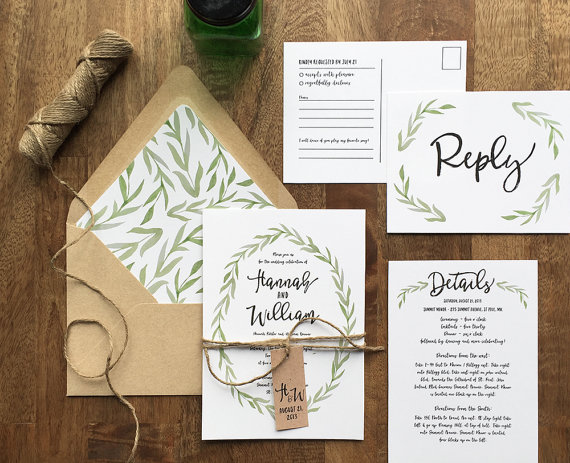 Rustic Wedding Invitation, Woodland Wedding, Painted Watercolor Wreath,  Green Botanical Wreath Wedding Invite