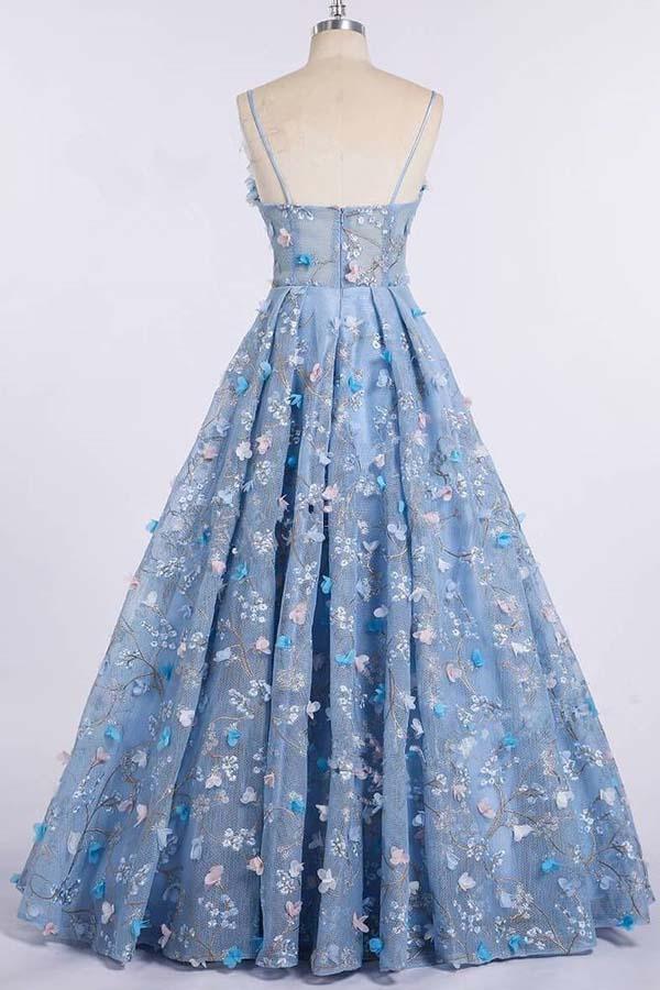 f043342d9cd Spaghetti Strap 3D Flower Applique Sky Blue Prom Dresses Ball Gowns ...