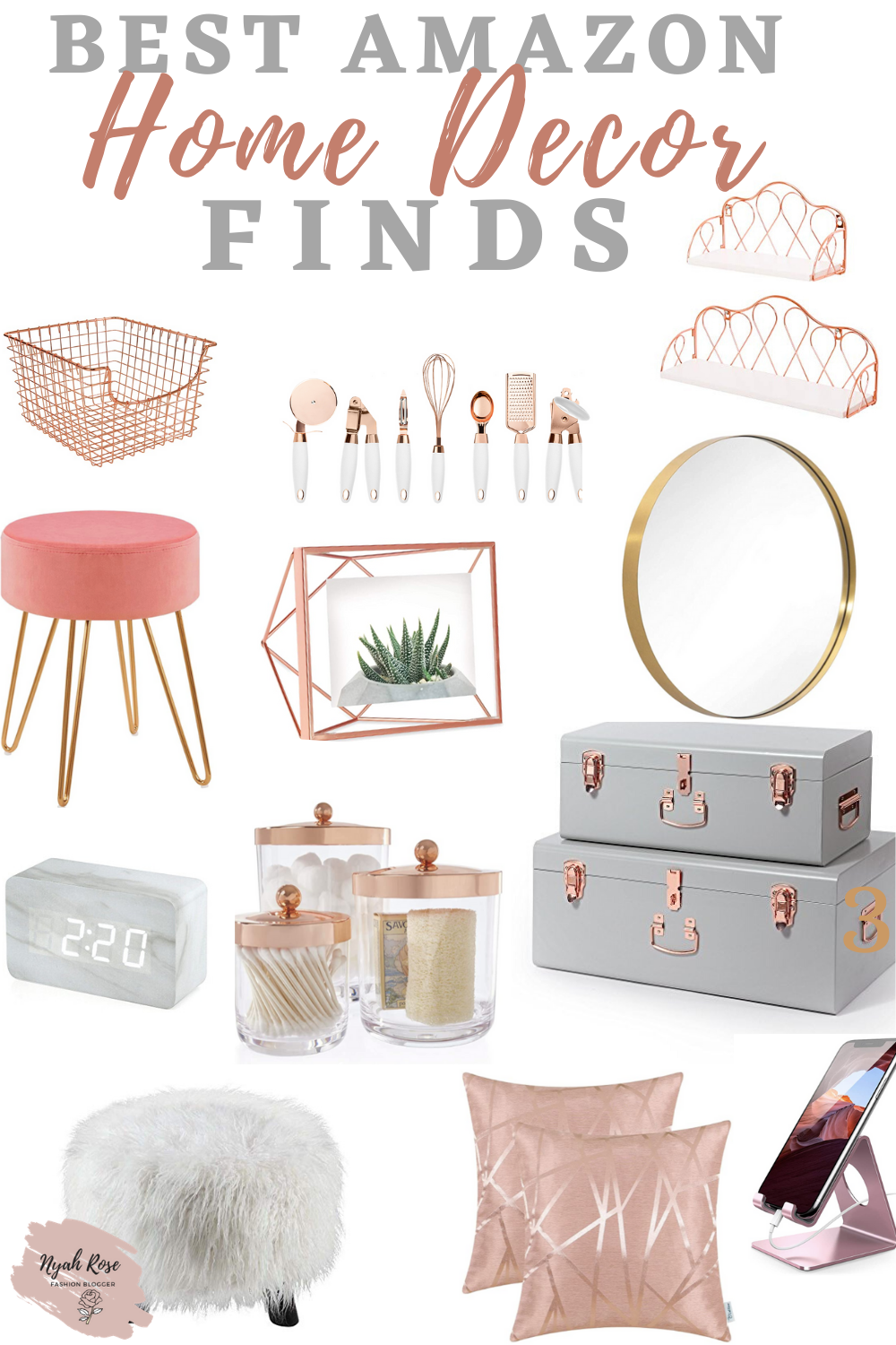 Love Rose Gold? These decor ideas are a must have if you want to make your room extra snazzy! Love Rose Gold? Here are some rose gold room decor ideas for your bedroom and Living rooms. #rosegolddiy #rosegoldkitchen #rosegoldparty #roomdecorideas #roomdecorliving #bedroomdecor #roomdecor aesthetic