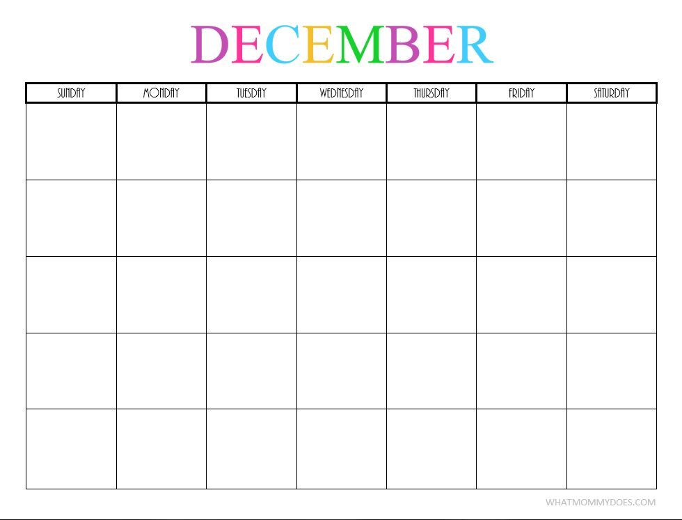 Free Printable Blank Monthly Calendars - 2018, 2019, 2020, 2021