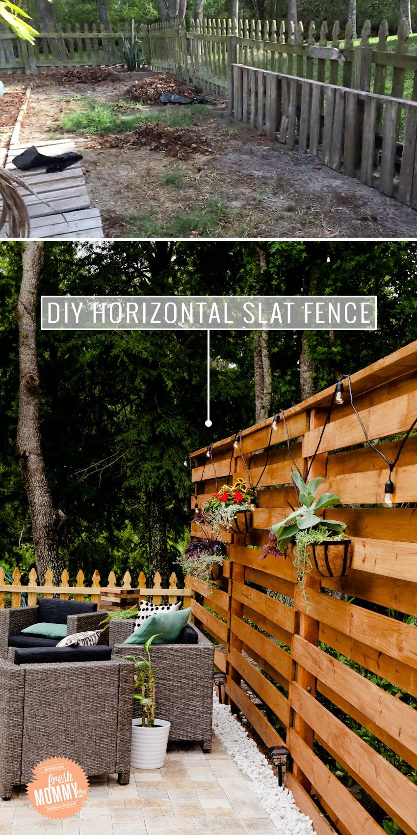 DIY Horizontal Slat Fence | House to Home
