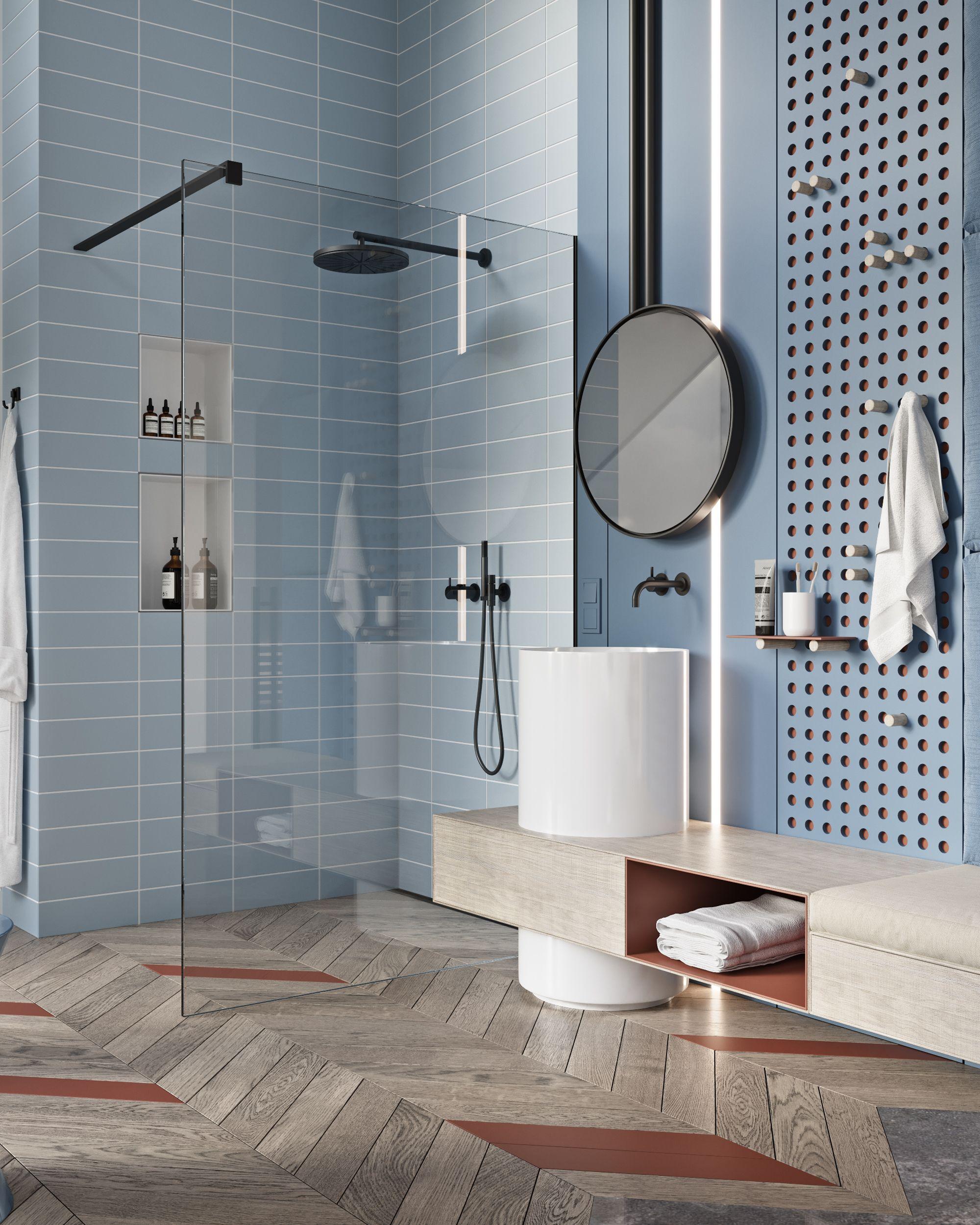 """TOL'KO / """"KIDS FLOOR"""" In Osko Village. Blue Tilded Bathroom With Black Fittings"""