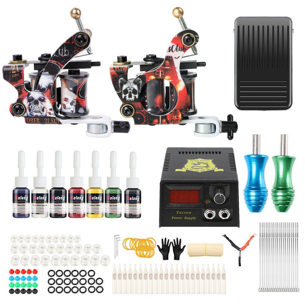 Ebay Sponsored Complete Tattoo Machine Set Coil Tattoo Kit Tattoo Ink Power Supply Box Tk216 Tattoo Machine Kits Tattoo Kits Tattoo Machine
