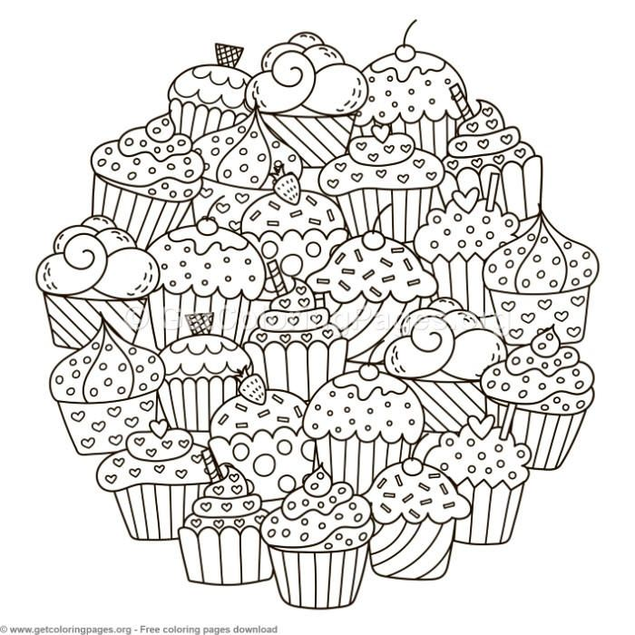 Circle Shape Cupcakes Pattern Coloring Pages – GetColoringPages.org ...