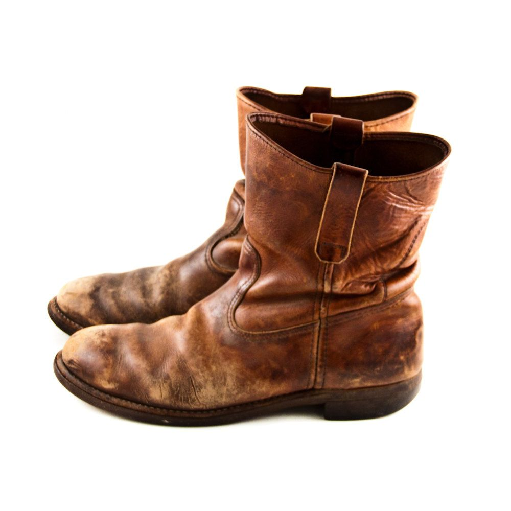 Vintage Leather Boots Men's Rustic Distressed Old Worn
