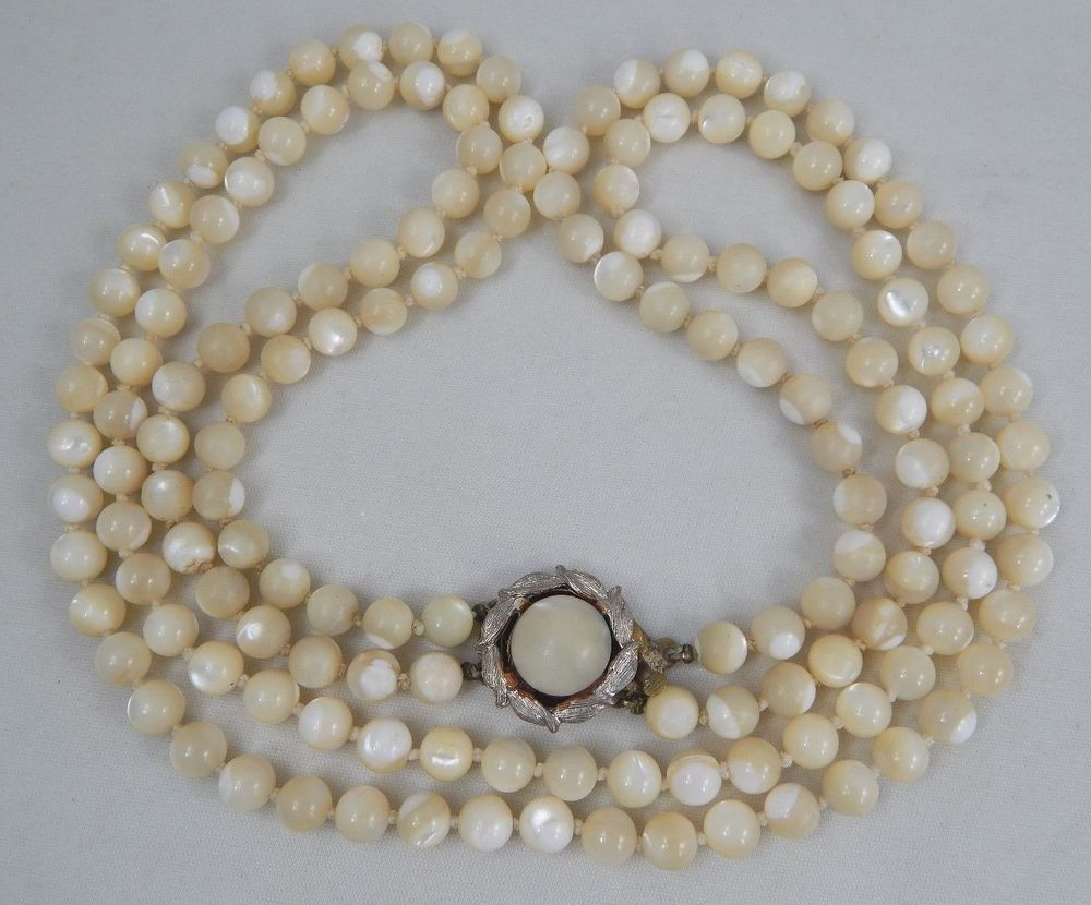 e5871cf87fc8c Vintage 2 Strand Hand Knotted Tied Mother Of Pearl Bead Necklace ...
