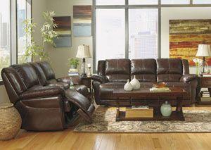 Lenoris Coffee Reclining Sofa Leather Living Room Set Living Room Sets Furniture