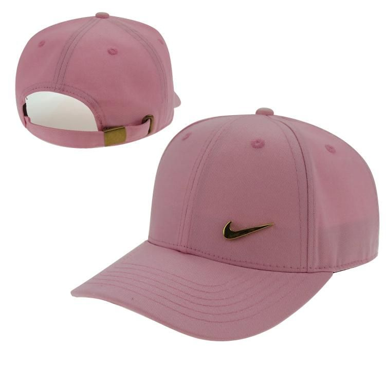 Men s   Women s Unisex Nike Swoosh Gold Metal Iconic Logo Strap Back  Baseball Adjustable Hat - Pink 2601599d6d7