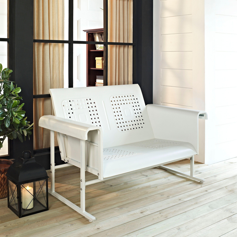 Veranda Loveseat Glider In Alabaster White Crosley Furniture Metal Outdoor Seating In 2020 Patio Loveseat Furniture Patio Sofa