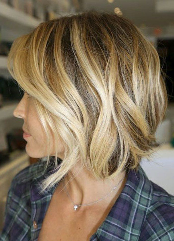 Coupe femme cheveux mi long blond