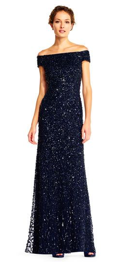 509667a484 Adrianna Papell | Off the Shoulder Sequin Beaded Gown | Navy Blue Beaded  bridesmaids dress | Beautiful all over sequin beading shines on this pretty  evening ...