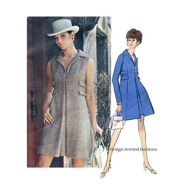 RESERVED FOR TRACY: 1960s Vogue 2202 Mod Coatdress Pattern Double ...