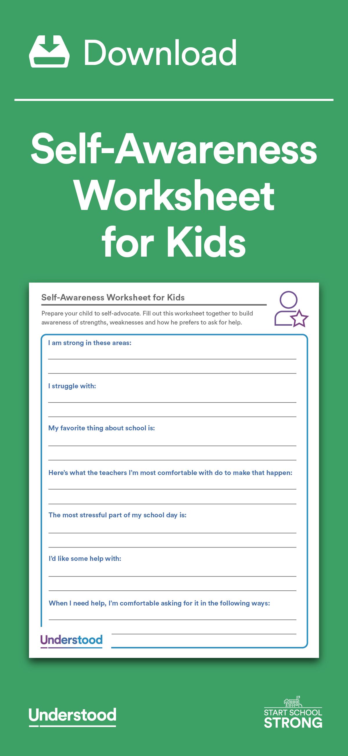 Awareness Worksheets Kids T
