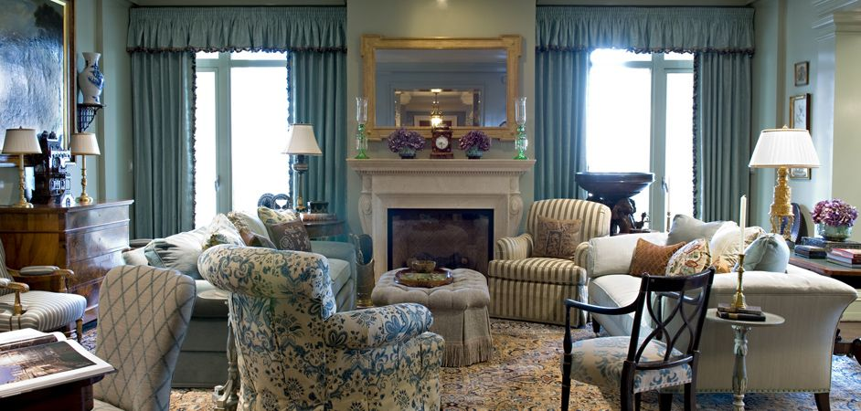 Cathy Kincaid Design Too Much Blue With Window Treatment