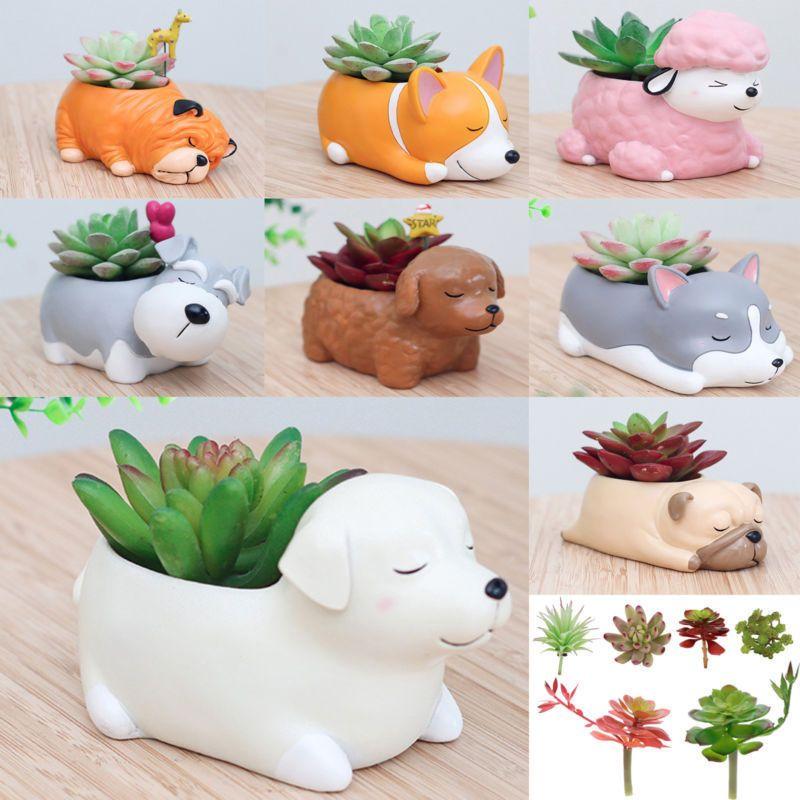 Animal Ceramic Flowerpot Dog Bulbasaur Planter Cute Green