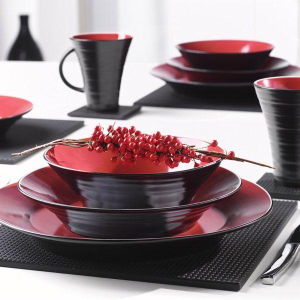 Tornado 16 Piece Dinner Set - Black and Red & Tornado 16 Piece Dinner Set - Black and Red | Alana\u0027s Home Style ...