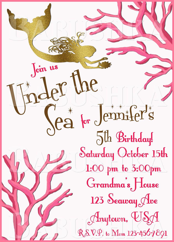 Under the sea birthday party invitation mermaid party invite