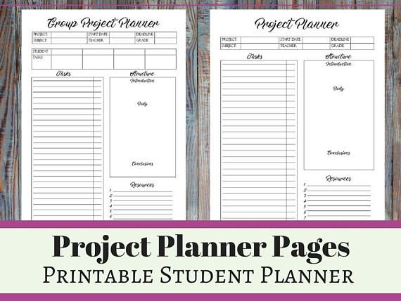 Essay Project Presentation Printable Student Planner Student
