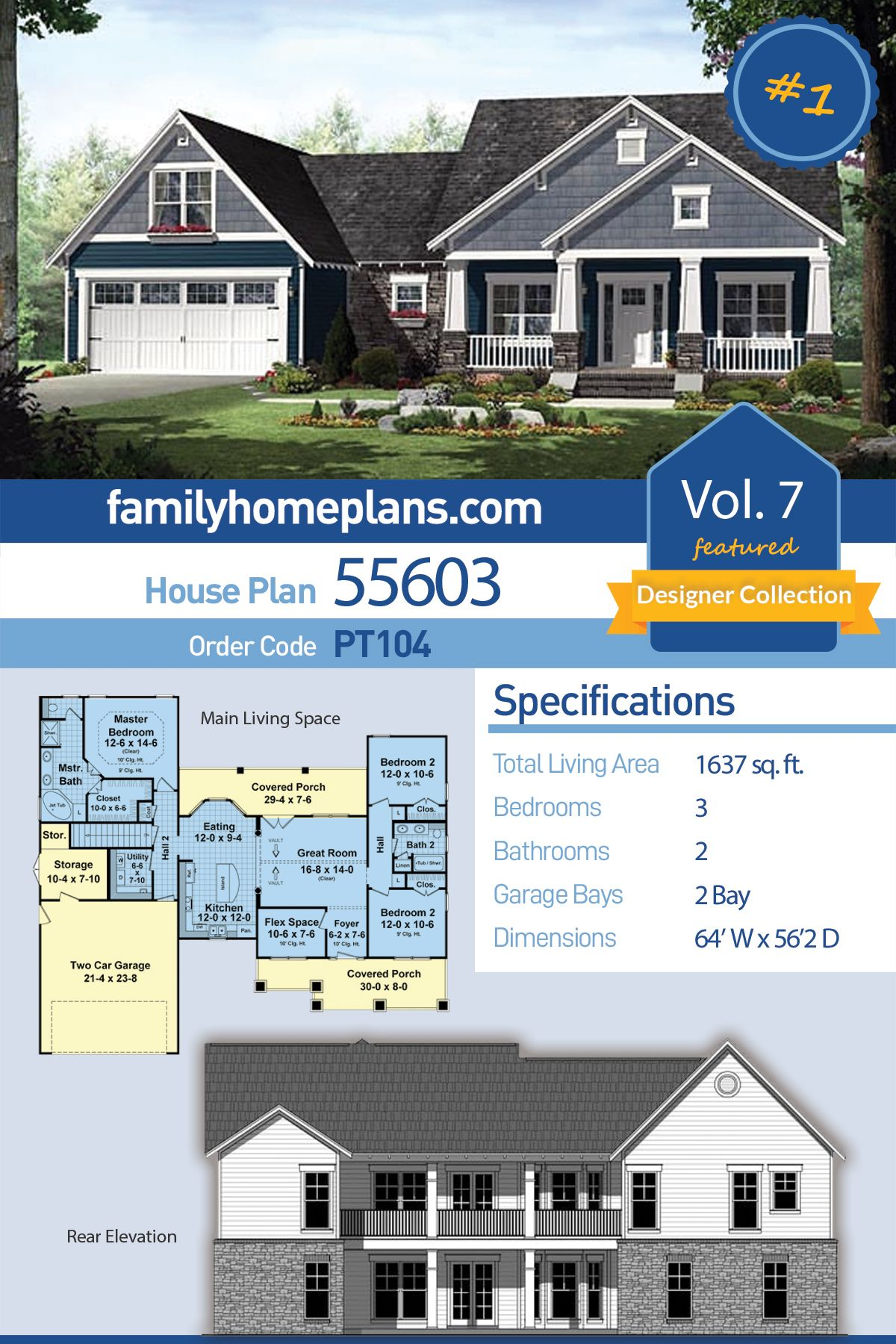 Craftsman Style House Plan 55603 With 3 Bed 2 Bath 2 Car Garage Craftsman Style House Plans Craftsman House Plans Basement House Plans