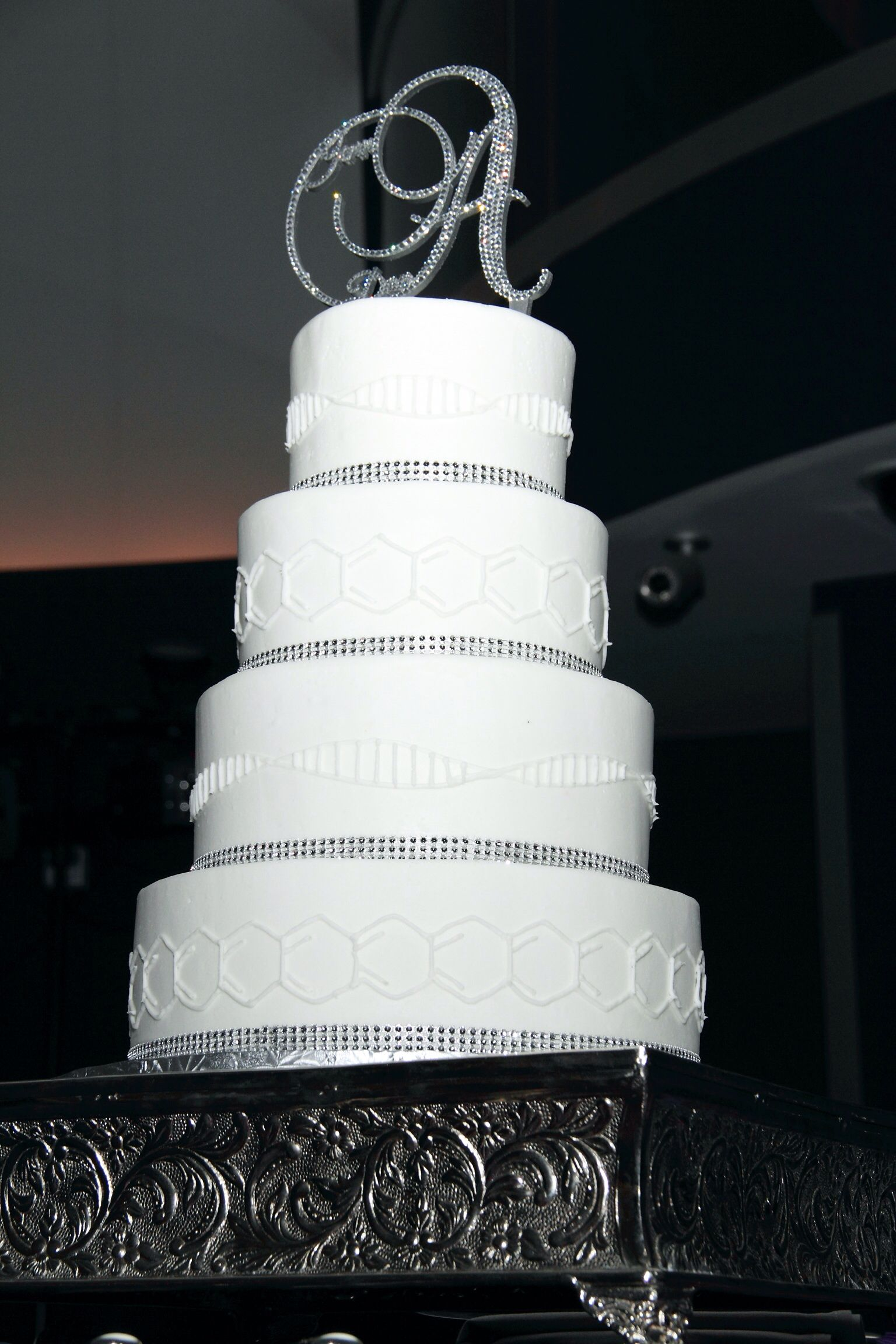 Bling And Science Wedding Cake With Initial Cake Topper. Every Tier Was A  Different Flavor
