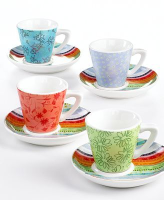 Prima Design Dinnerware Set of 4 Botanical Espresso Cups and Saucers - All Glassware \u0026 Drinkware - Dining \u0026 Entertaining - Macy\u0027s  sc 1 st  Pinterest & Prima Designs Dinnerware Set of 4 Botanical Espresso Cups and ...