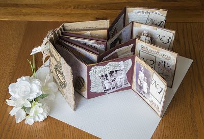 #papercraft #scrapbook #minialbums Margies Blue House (blog)---Rubber Band Mini Album for Our Creative Corner.  A photo explanation of how this mini was made is provided on the blog.