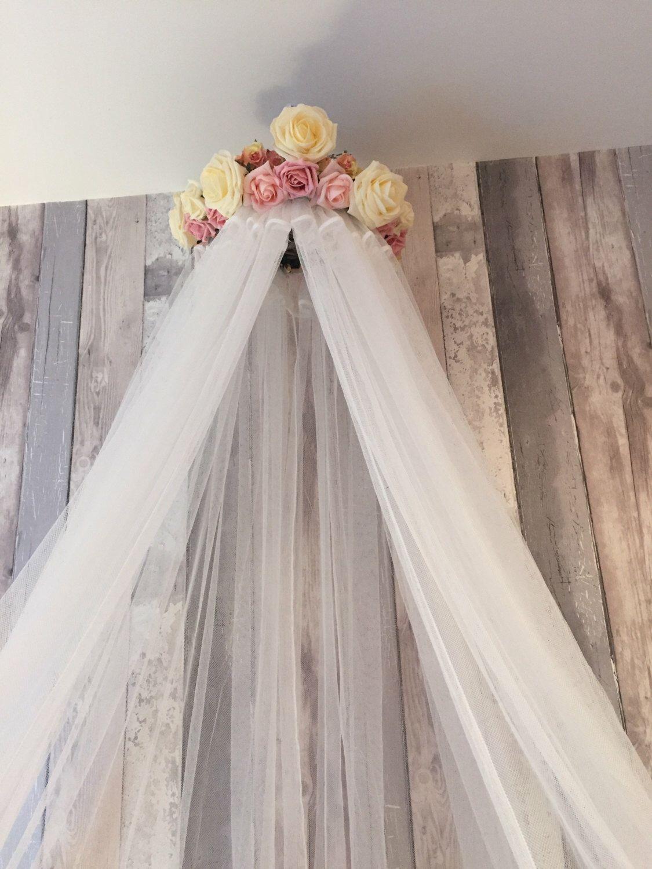 Hannah Handmade Bed Canopy Crib Bedroom Decor Reading Nook Baby Nursery Pink And Cream Theme Flowers