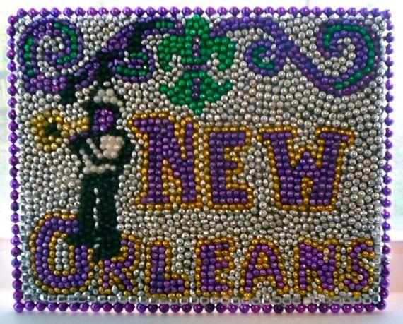 New Orleans Mardi Gras Bead Mosaic with fleur de lis by nolabeadart, $100.00