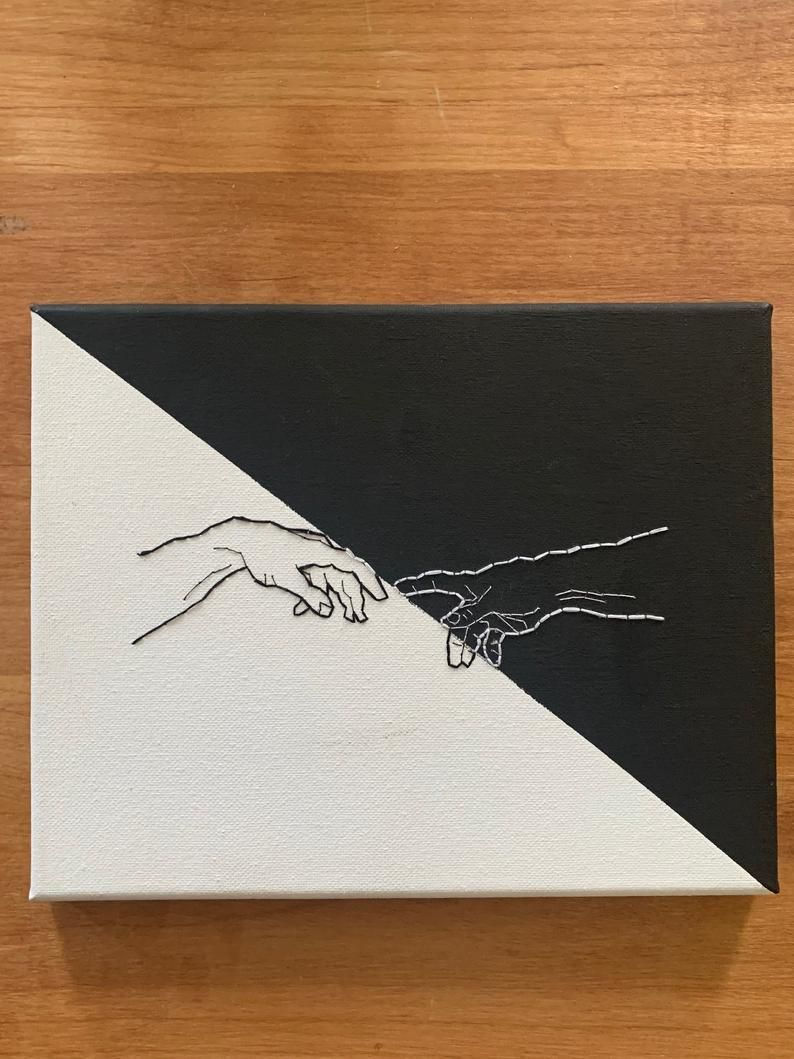 CUSTOMIZABLE*** Michelangelo Creation of Adam Hands, Canvas Embroidery – Art