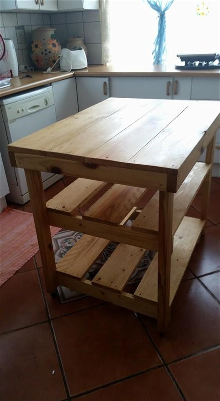 Pallet Kitchen Island Or End Table Diy Hand Built Pallet Kitchen  # Diy Pallete Cuisine