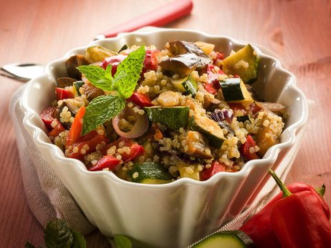 Quinoa is a super tasty grain-like dish that packs lots of nutrition and complete protein into one dish. Quinoa is a meal on its own, but it's often served as a side dish. This version is especially nice with a simple sauteed chicken b...
