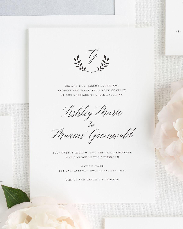 Wreath Monogram Wedding Invitations Weddings
