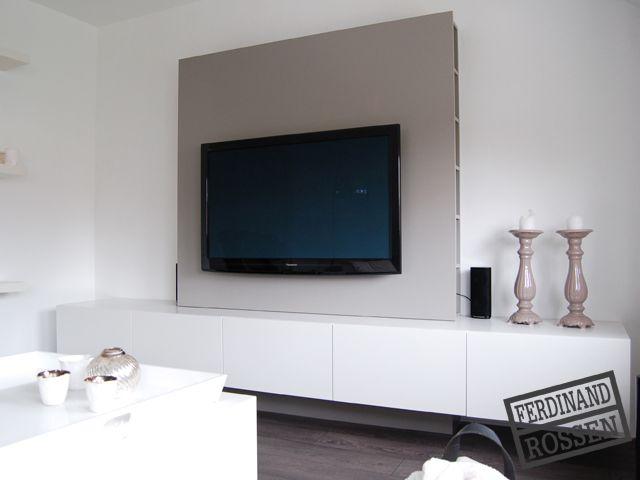 modern hangend tvmeubel met opbergruimte met daarbij een. Black Bedroom Furniture Sets. Home Design Ideas