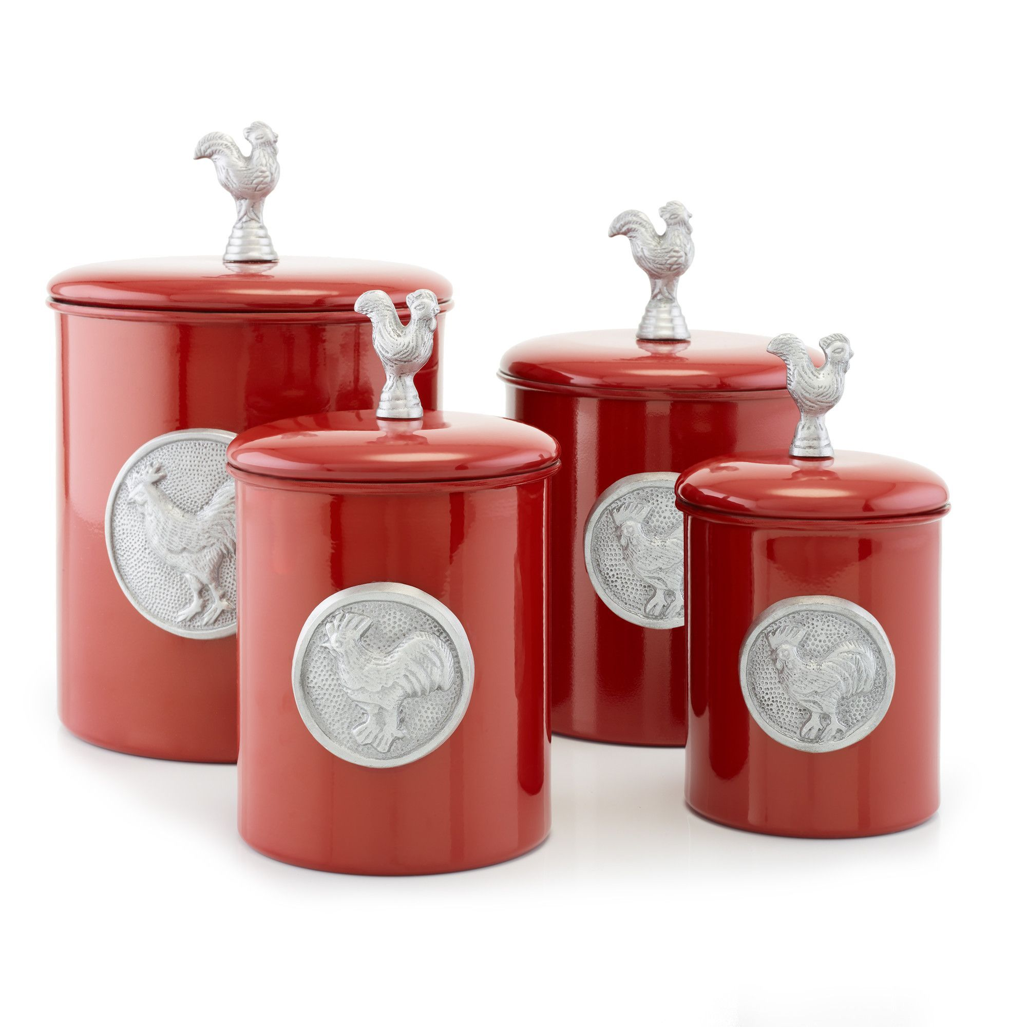 Red Rooster 4 Piece Canister Set