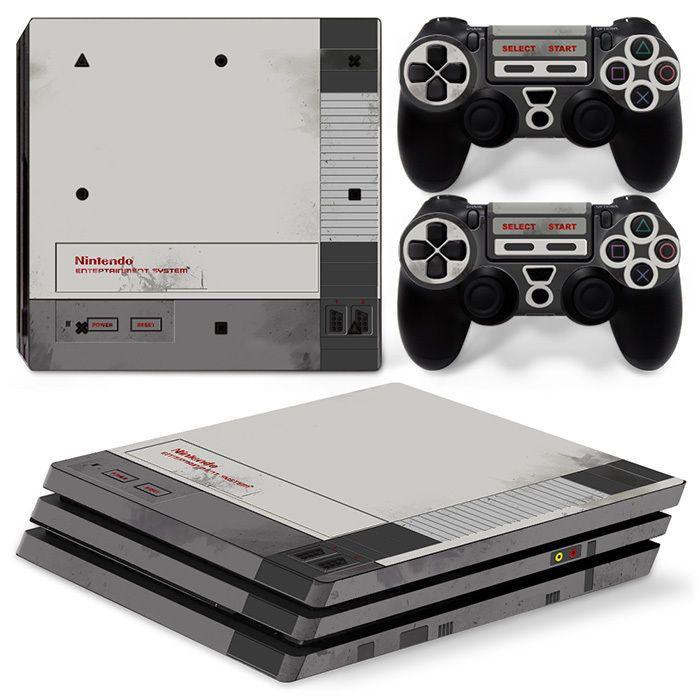 ps4 pro playstation 4 console skin decal sticker old nes retro custom design set videojuegos. Black Bedroom Furniture Sets. Home Design Ideas
