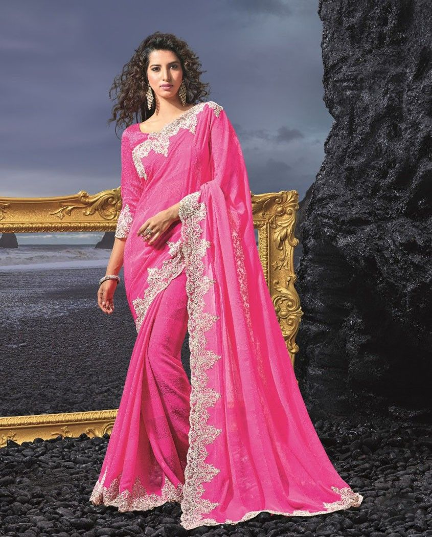 Art Silk Pink Embroidered Traditional Saree in 2020