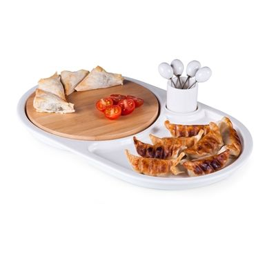 Eclipse Appetizer Tray and Cutting Board and Set - White/ Bamboo