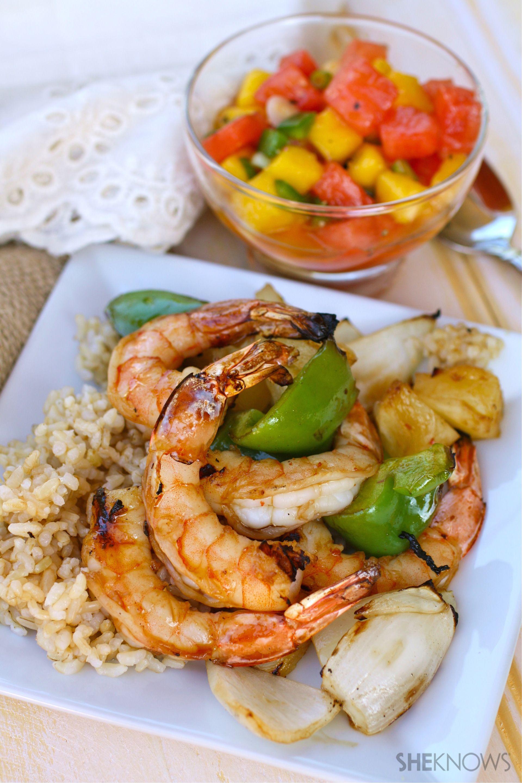 Tropical shrimp kabobs with spicy fruit salsa