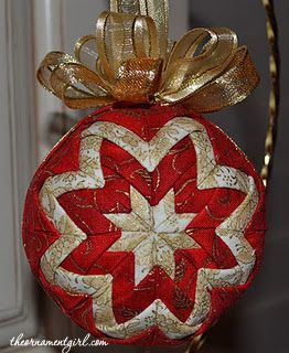 red and gold quilted ball ornament: got to learn how to make these ... : quilted styrofoam ball ornament - Adamdwight.com