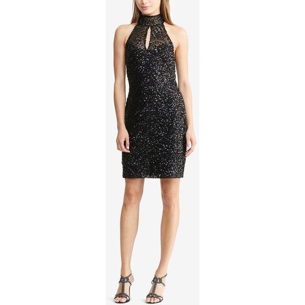 Lauren Ralph Lauren Sequined Halter Dress ($145) ❤ liked on ...