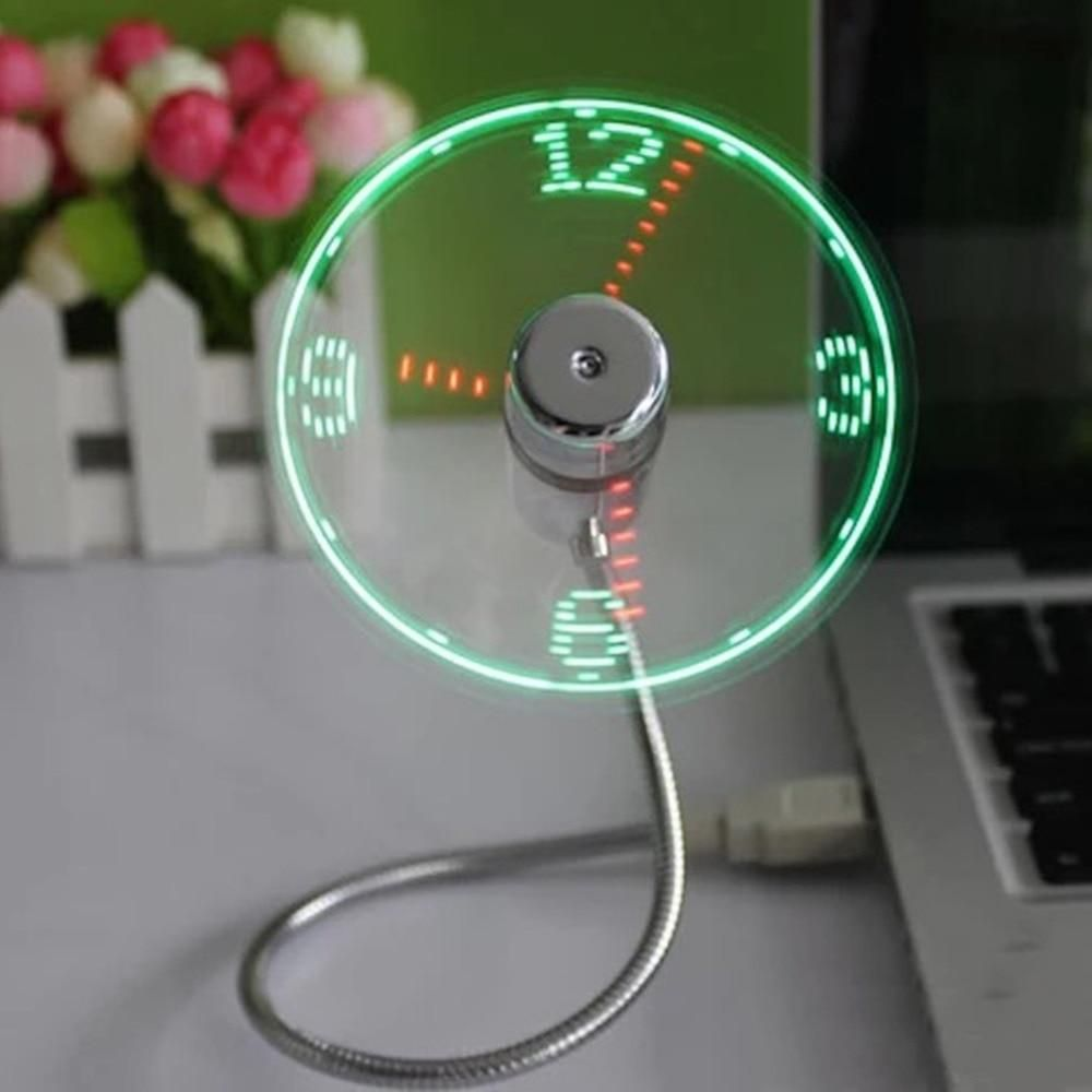 USB Mini Flexible Time Clock Fan With LED Light Real Time Display Cooling Gadget