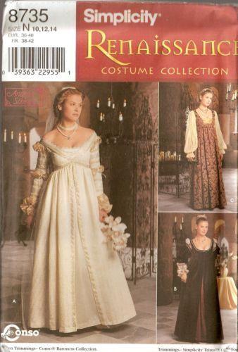 Simplicity Misses Renaissance Dress Gown Costume Pattern 8735 Size ...