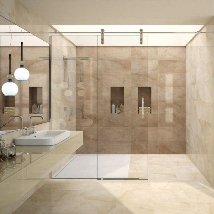 Lovely Range Of Brown And Cream Wall Tiles In A Large Modern Format The Agora Patterned Wall Til Bathroom Feature Wall Beige Marble Bathroom Bathroom Interior