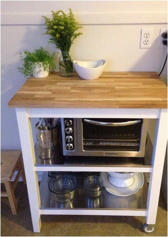 Bon Ikea Kitchen Cart Stenstorp (microwave On Lower Level)