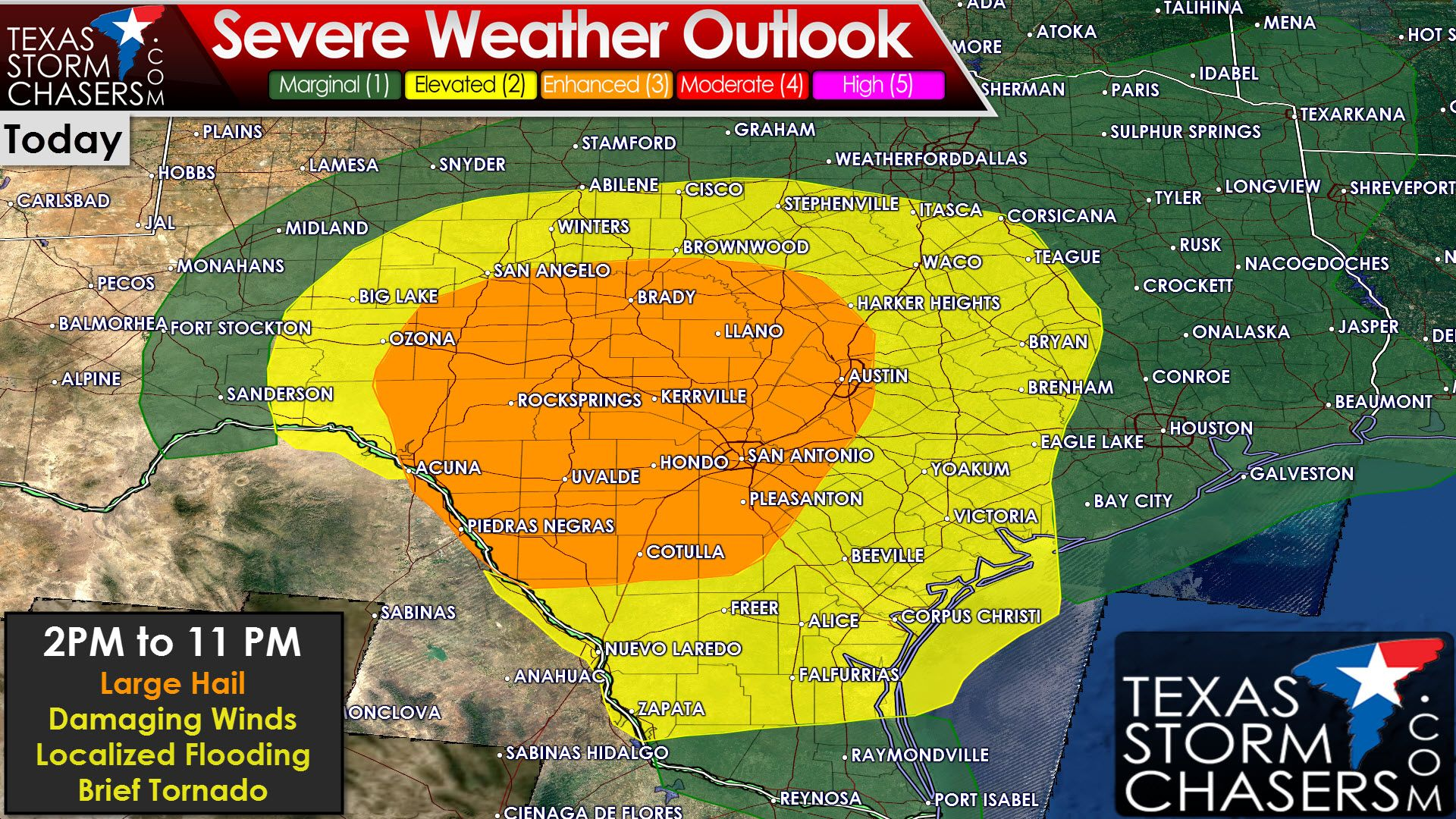 The Storm Prediction Center is indicating the potential for