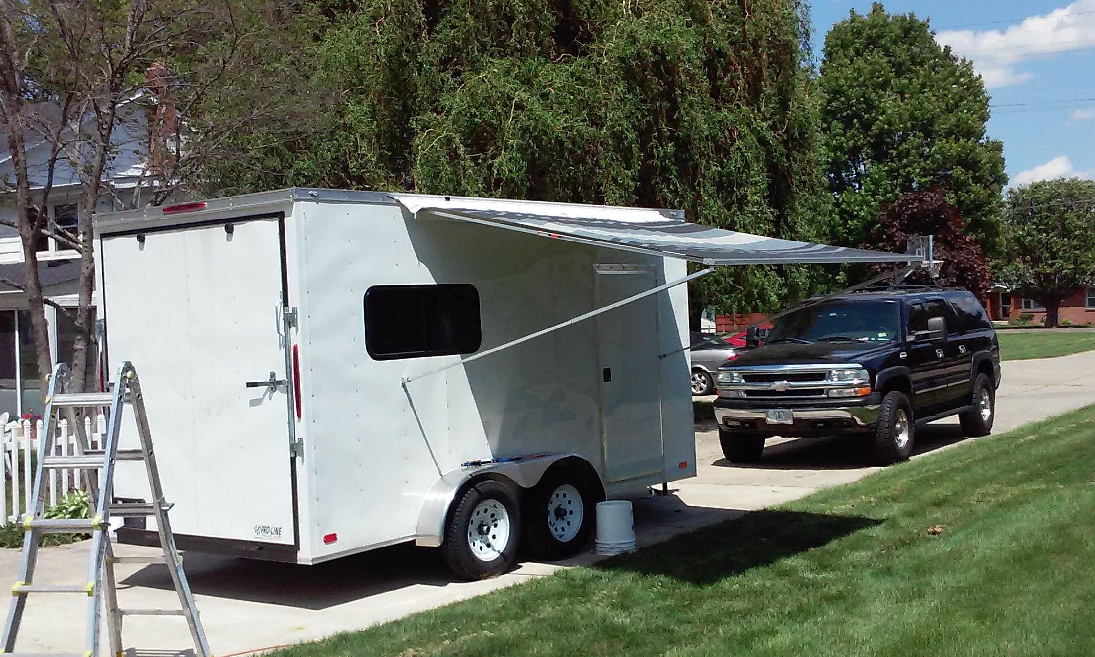 We Started With A Custom Ordered 7x14 Tandem Axle V Nosed Trailer With Two Windows Installed The Goal Was To M Build A Camper Camper Cargo Trailer Conversion