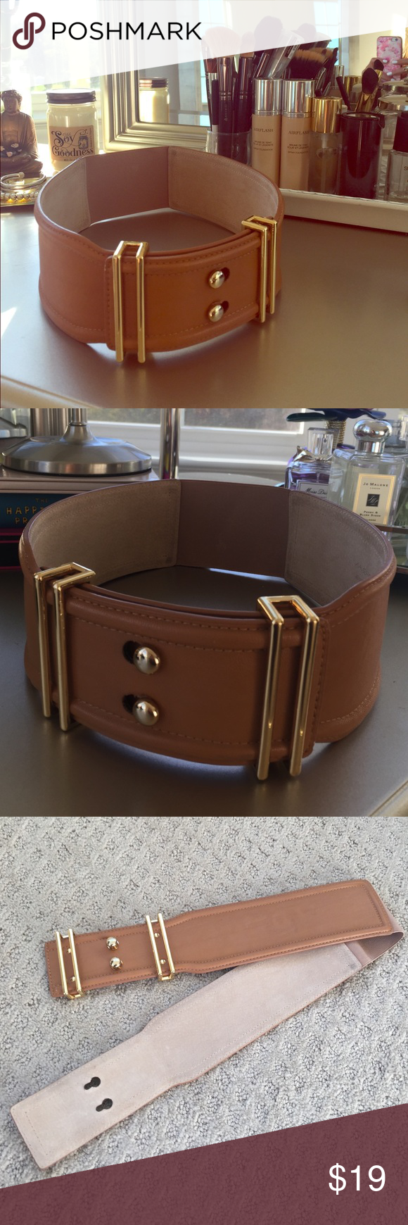 VIA SPIGA WAIST CINCHER BELT LEATHER Bought at Nordstroms for over $200. Gold hardware, camel color leather, elastic band center back. Last photo shows flaws from wear but definitely not noticeable once worn.  VIA SPIGA Accessories Belts