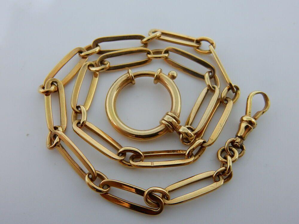 Antike Gold Taschenuhr Kette 33 Cm Massiv Rot Gold 585 Antikes