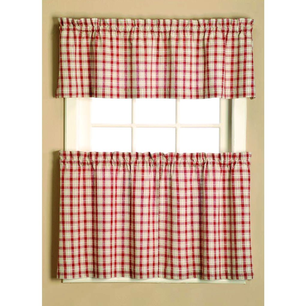 Red plaid curtains - Give Your Home A Country Style Feel With This Plaid Curtain Tier Set Made