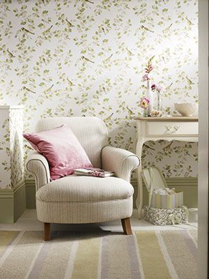 Laura Ashley Floral Wallpaper With Armchair   Bedroom Ideas    Allaboutyou.com